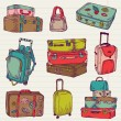 Set of Vintage Colorful Suitcases - for design and scrapbook — Stock Vector