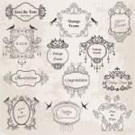 Marcos antiguos y elementos de diseño-para la boda, invitación — Vector de stock
