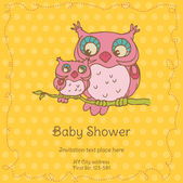 Baby Shower Card with Owls - with place for your text -in vector — Stock Vector