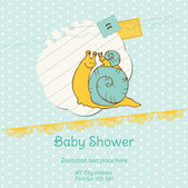 Baby Shower Card with Snail - with place for your text — Stock Vector