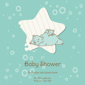 Baby Shower Card with Bear - with place for your text -in vector — Stock Vector