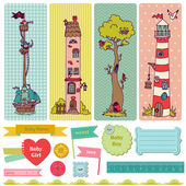 Scrapbook Design Elements - Vintage Child Set - in vector — Stok Vektör