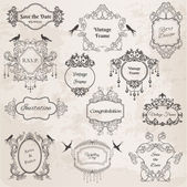 ビンテージ フレームと設計要素-招待状結婚式のため — ストックベクタ