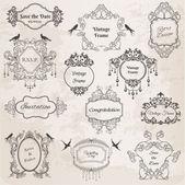 Cornici d'epoca ed elementi di design-per matrimonio, invito — Vettoriale Stock