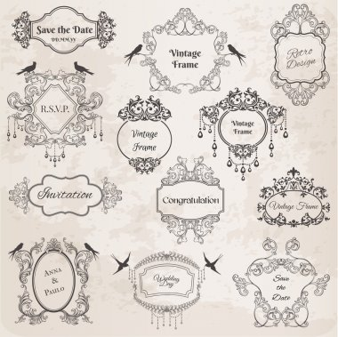 Vintage Frames and Design Elements- for wedding, invitation