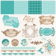 Scrapbook Design Elements - Vintage Love Set - in vector — Stock Vector