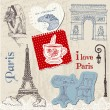 Scrapbook Design Elements - Paris Vintage Set - in vector - Stock Vector