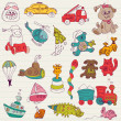 Baby Toys Doodles - for design and scrapbook - in vector — Stockvectorbeeld
