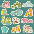 Baby and Mommy Animal Set on paper tags - for design — Stock Vector