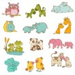 Stock Vector: Baby and Mommy Animals - hand drawn - in vector