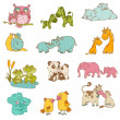 Baby and Mommy Animals - hand drawn - in vector — Stock Vector