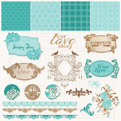 Scrapbook Design Elements - Vintage Love Set - in vector — Stock Vector
