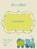 Baby Boy Arrival Card with Photo Frame - in vector — Stock Vector