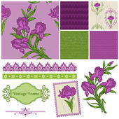 Scrapbook Design Elements - Iris Flowers in vector — Stok Vektör