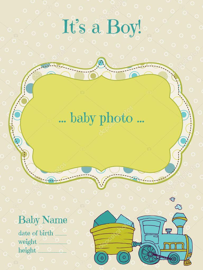 De kaart van de aankomst van baby jongen met fotokader in vector stockvector woodhouse - Baby boy versiering van de zaal ...