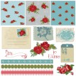 Scrapbook Design Elements - Vintage Flowers in vector — Stock Vector