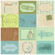 Scrapbook Paper Tags and Design Elements - Vintage Time — Stok Vektör