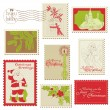 Christmas Vintage Stamp Collection -for scrapbook — Stock Vector