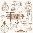 Scrapbook Design Elements - Vintage Time and Clocks — Stock Vector