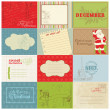 Set of Christmas Vintage Design Elements in vector — Stock Vector