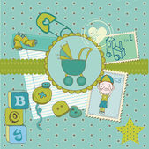 Scrapbook Baby shower Boy Set - design elements in vector — Stock Vector