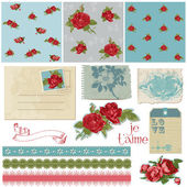 Scrapbook Design Elements - Vintage Flowers in vector — Stok Vektör