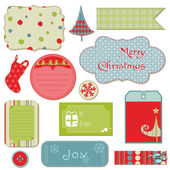 Set of Christmas Tags and Elements - for design and scrapbook — Stock Vector