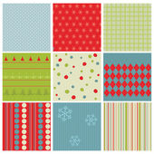 Set of Christmas Seamless Backgrounds - for design and scrapbook — Stock Vector
