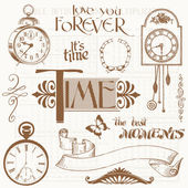 Scrapbook Design Elements - Vintage Time and Clocks — Stock Vector