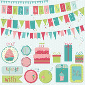 Retro Birthday Celebration Design Elements - for Scrapbook — Stok Vektör