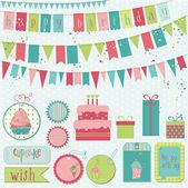Retro doğum günü kutlama tasarım öğeleri - karalama defteri için — Stok Vektör