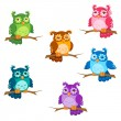 Set of cute six cartoon owls with various emotions in vector — Vector de stock