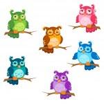 verzameling van cute zes cartoon uilen met verschillende emoties in vector — Stockvector