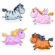 Great Set of Cute Magic Horses and Unicorns - in vector - Stock Vector