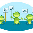 Stock Vector: Eco illustration of green frogs, holding signs in vector
