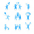 Set of Icons - Silhouette family. woman, man, kid, child, boy, g — Stock Vector #8401978
