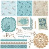 Scrapbook Design Elements - Vintage Birds and Flowers — Stock Vector