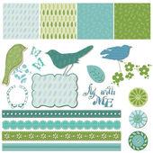 Floral Scrapbook Design Elements with Birds in vector — Stock Vector