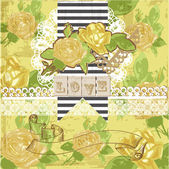 Vintage Scrapbook Design Elements - Yellow roses in vector — Stok Vektör
