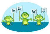Eco illustration of green frogs, holding signs in vector — Stock Vector