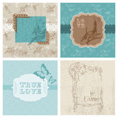 Set of Floral Retro Cards - with frames and place for your text — Stock Vector