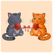 Romantic Two cats in Love - Funny illustration in vector — Stock Vector
