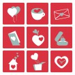 Love icons - for valentine cards, invitation, wedding in vector — Stock Vector