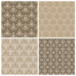 Set of Seamless Damask Wallpaper Patterns in vector - Stock Vector