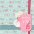 Cute Love Card - for Valentines day, scrapbooking  in vector — Imagens vectoriais em stock