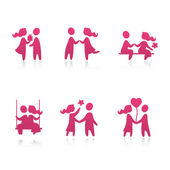Set of icons - Couple in love - vector illustration — Stock Vector