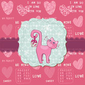 Cute Love Card with Cat -for valentines day, greetings, scrapbook in vector — Stok Vektör