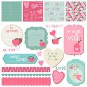 Scrapbook Design Elements - Love Set - for cards, invitations — Stock Vector