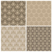 Set of Seamless Damask Wallpaper Patterns in vector — Stock Vector
