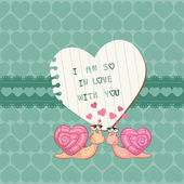Cute Love Card - for Valentines day, scrapbooking in vector — Stok Vektör